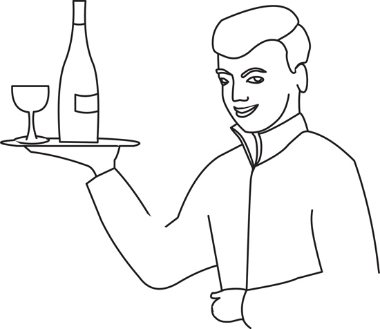 Food : outline-waiter-holding-glass-bottle : Classroom Clipart