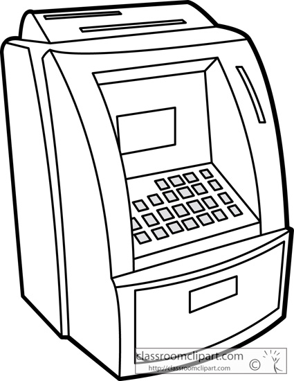 general clipart- money atm bank outline 02