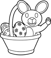 Easter Basket With Rabbit And Eggs Outline Size 106 Kb From Holiday