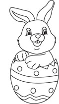 Easter Bunny With Eggs Clipart Black And White easter rabbit in egg outline