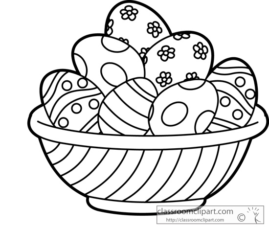 Easter Basket Clipart Black And White : Holiday easter basket with colorful eggs outline