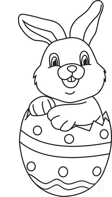 Easter Bunny With Eggs Clipart Black And White Holiday Black and Whit...
