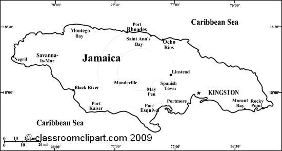 Jamaica map 35bw jpg