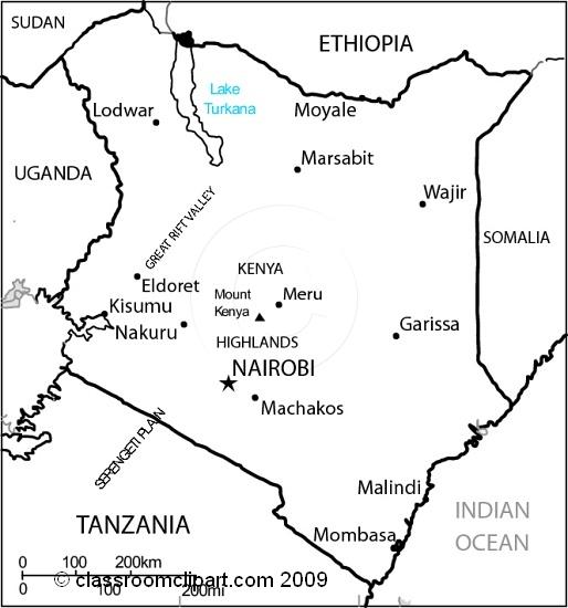 Maps : Kenya_map_28Mbw : Classroom Clipart
