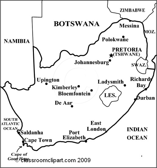 clipart of south africa map