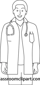 Male Doctor Standing With Stethoscope Outline_jpg