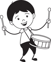 Black White Boy Playing Drum Musical Instrument Clipart Size 67 Kb From Music