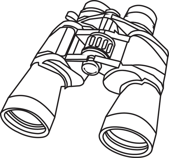 Objects : binoculars-outline-1111 : Classroom Clipart