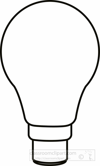 Objects Black and White Outline Clipart - light-bulb-black ...