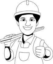 Black White Carpenter Clipart Size 128 Kb From Occupations