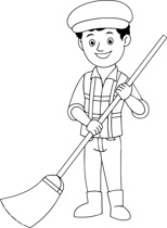 Black White Street Sweeper Clipart Size 103 Kb