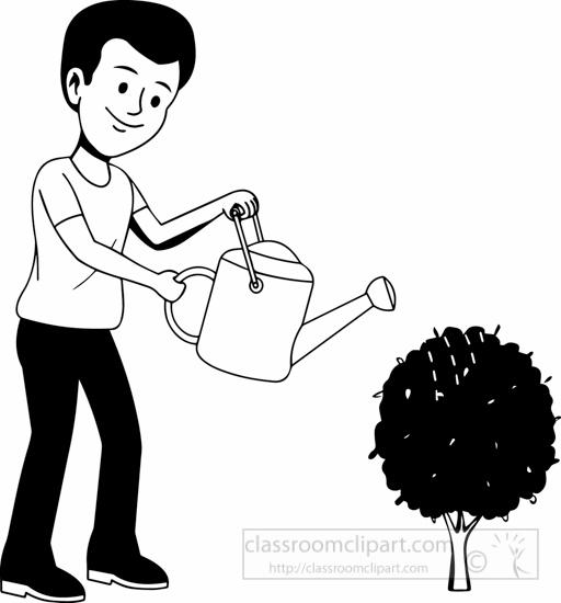 People : black-white-gardener-watering-plant-black-white ...