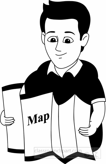 People Clipart- black-white-map-man-looking-at-map-clipart ...