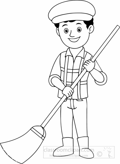 Sweeper Clipart People : black-white-street-sweeper-black-white ...