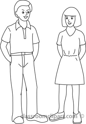 People Clipart- outlne_boy_and_girl_standing_21812 ...