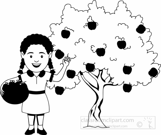 black-white-farmer-girl-with-apples-in-basket-in-at-apple-farm--farming-clipart.jpg