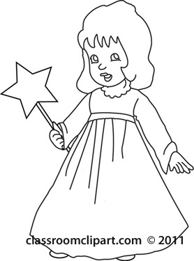 Religion : angel-holding-a-wand-bw : Classroom Clipart