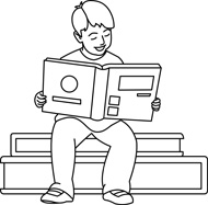 Boy Reading Book Outline Two Children Reading Clipart Black And White