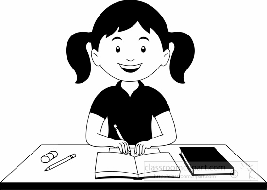 Student Clipart Black And White: School : Black-white-girl-doing-study-clipart : Classroom