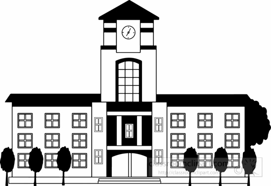 School Clipart- black-white-school-or-college-building-big ...
