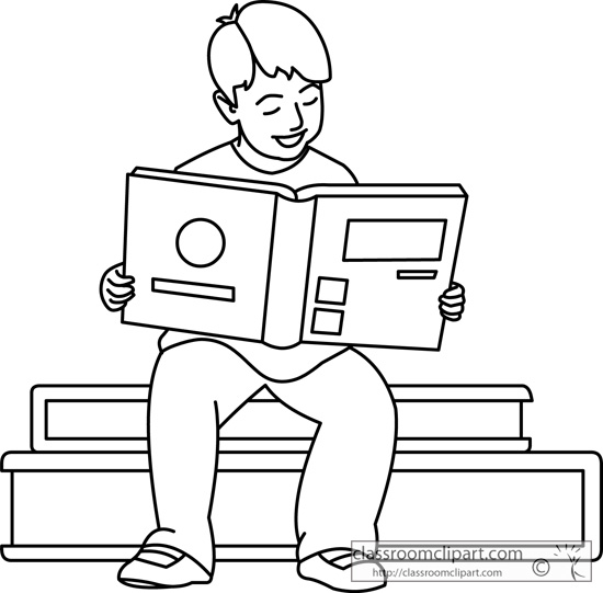 School Clipart- boy_reading_book_outline_0221 - Classroom ...