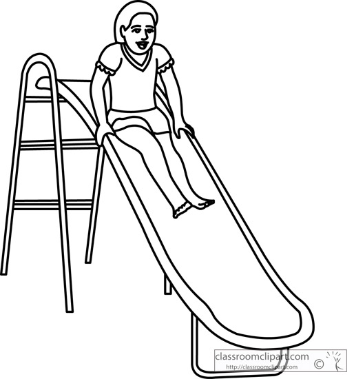School Clipart- playground_slide_fun_09_outline ...