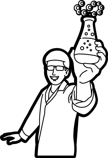 Science : chemistry_student_with_flask_outline_213 ...