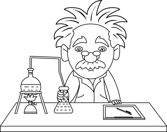 Science Black and White Outline Clipart - scientist_in_lab ...