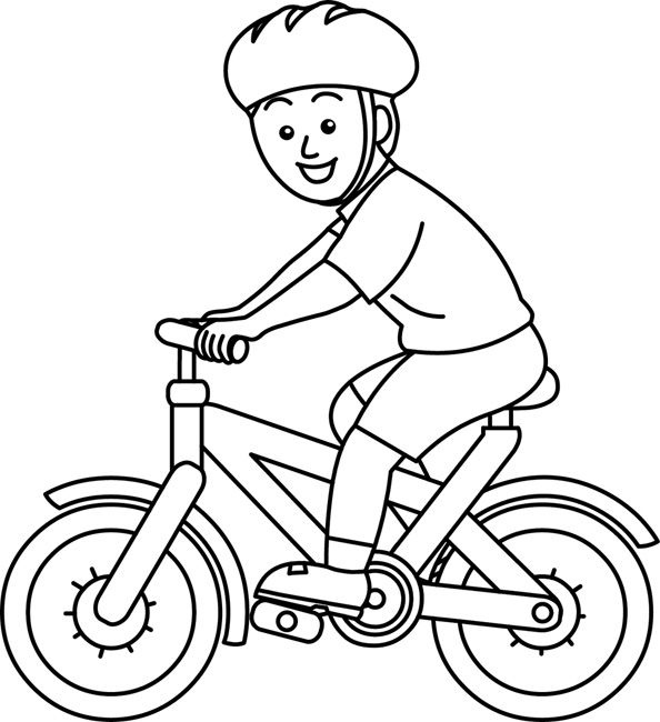 Sports Clipart- bicycle-rider-wearing-helmet--bw-outline ...