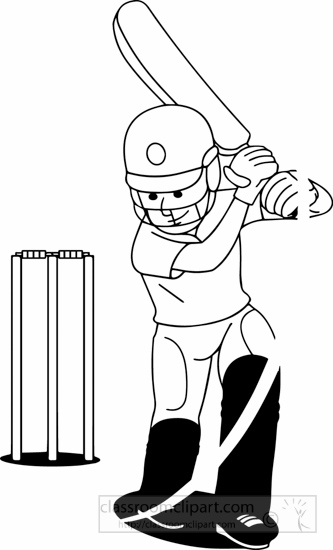 Sports : black-white-boy-playing-cricket-clipart ...