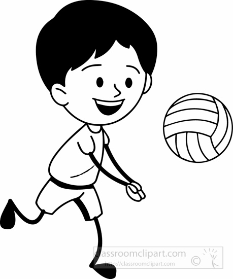 Sports Clipart- black-white-boy-playing-volleyball-clipart ...