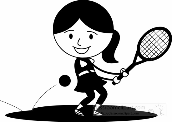 Sports Clipart- black-white-hitting-tennis-ball-with-back ...