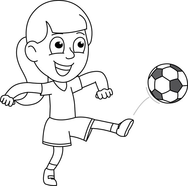 Sports Clipart- girl_kicking_soccer_ball_outline ...