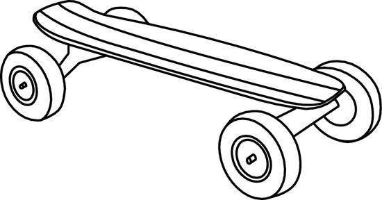 Skateboard Clip Art Black And White Sports Clipart- skateb...