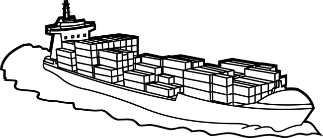 Transportation Clipart- Cargo_ship_with_containers_outline