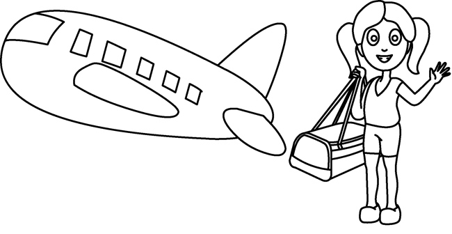 Transportation : Cartoon_girl_traveling_airplane_outline