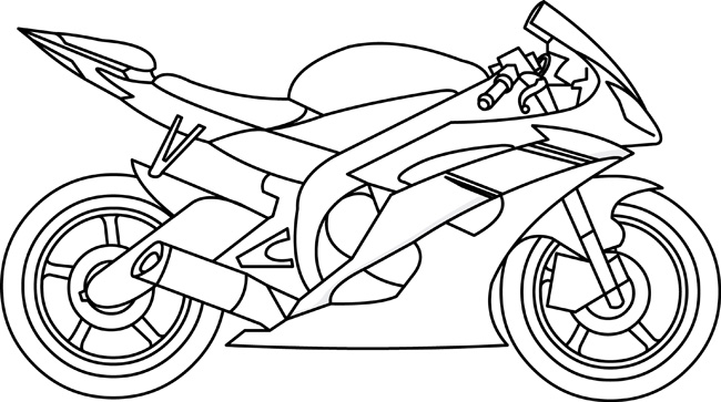 Transportation : Motorcycle_02_outline : Classroom Clipart