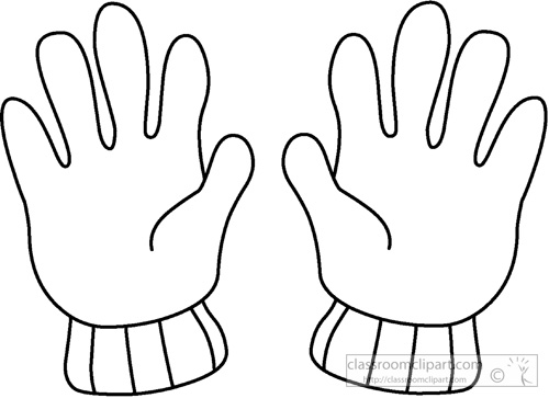 Weather clipart winter gloves outline 02 classroom clipart for Coloring pages of mittens and gloves