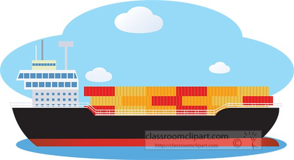 Boats and Ships : cargo-ship-on-the-ocean-clipart ...