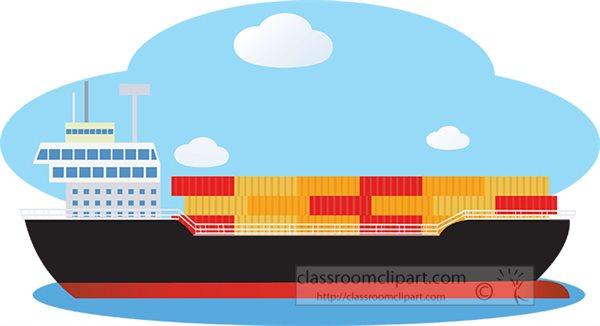 boats and ships clipart cargoshipontheoceanclipart