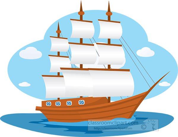 Large Wooden Sailboat Sails Open Clipart 92