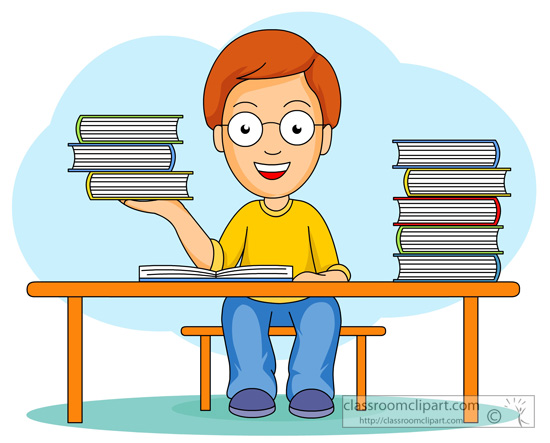 Book Clipart Clipart Student At Desk With Books 23