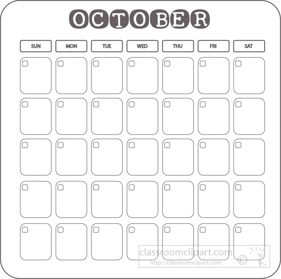 calendar clipart calendar blank template gray october 2017 clipart