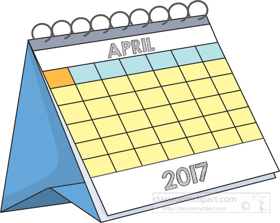 April Calendar Clipart : Calendar desk april a clipart