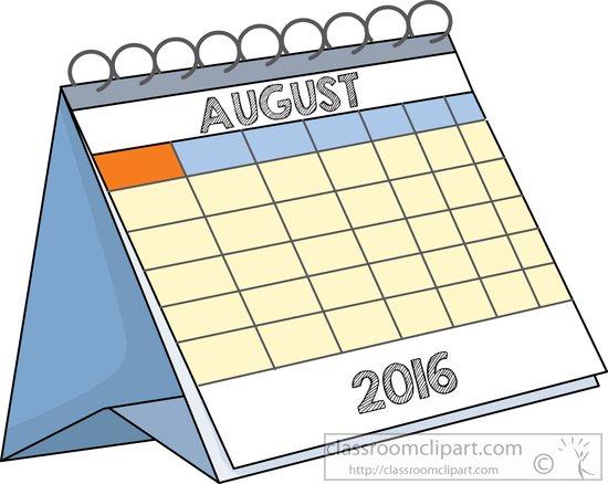 Art Gallery Calendar : Calendar clipart desk august classroom