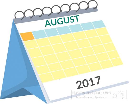 Calendar Clip Art August : Calendar desk august white clipart