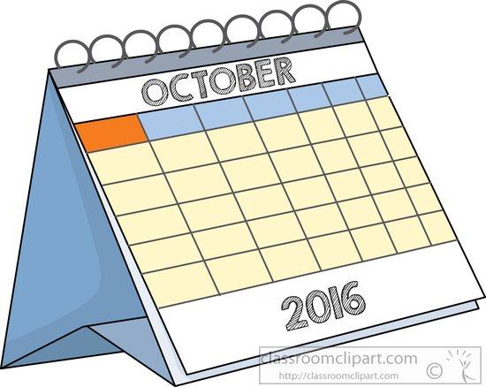 October Calendar Clipart : Calendar desk october classroom clipart