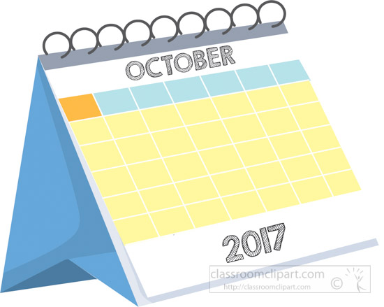 October 2017 Calendar Clipart