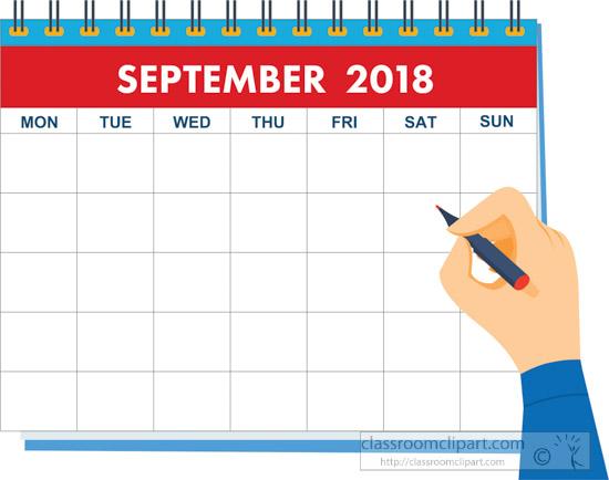 September Calendar Clipart : Calendar clipart hand writing september