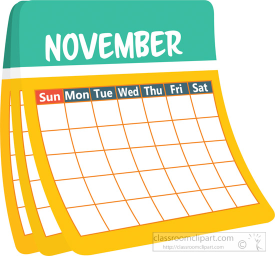April Calendar Clip Art : Calendar clipart monthly calender november